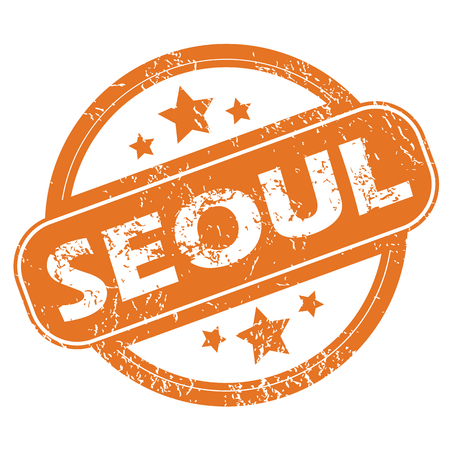 seoul: Round rubber stamp with city name Seoul and stars, isolated on white Illustration