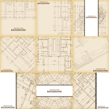 architecture: Beige architecture background set