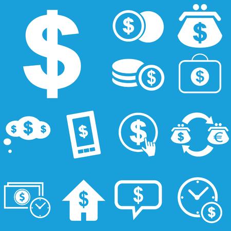 rouleau: Dollar icon set Illustration