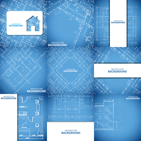 draught: Blue architecture background set Illustration