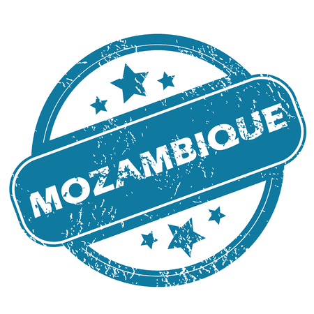 mozambique: Round rubber stamp with word MOZAMBIQUE and stars, isolated on white