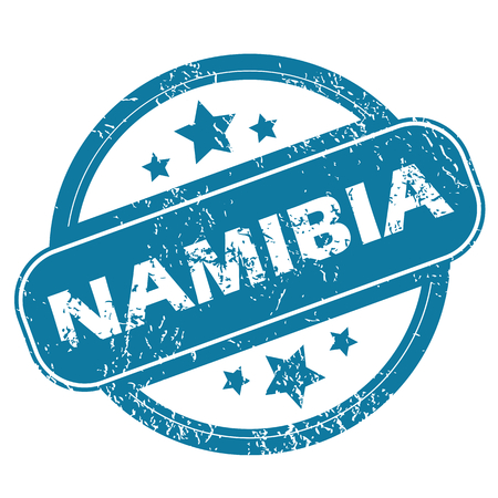 Round rubber stamp with word NAMIBIA and stars, isolated on white Vector