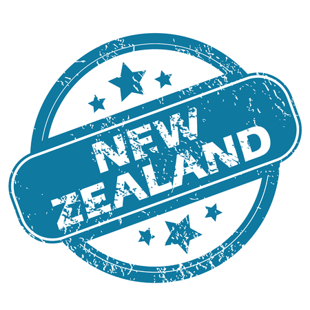 archive site: Round rubber stamp with words NEW ZEALAND and stars, isolated on white Illustration