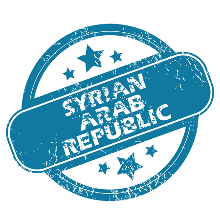 archive site: Round rubber stamp with words SYRIAN ARAB REPUBLIC and stars, isolated on white