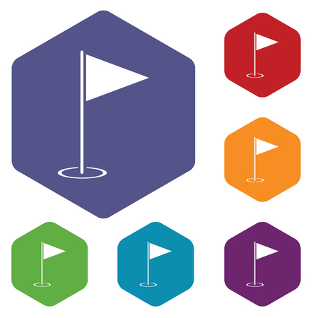 Colored set of hexagon icons with image of golf flagstick, isolated on white