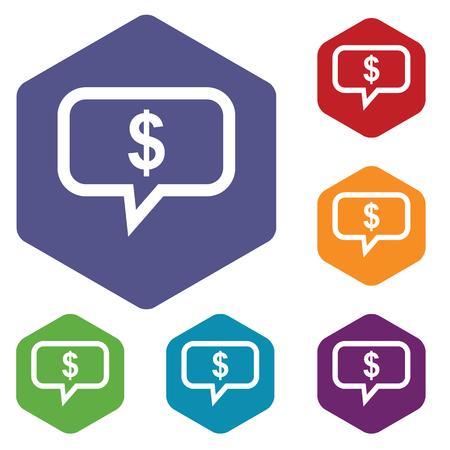 fondos violeta: Coloreado conjunto de iconos hexagonales con el d�lar en burbuja de texto, aislado en blanco