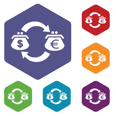 fondos violeta: Coloreado conjunto de iconos hexagonales con el s�mbolo de cambio d�lar-euro, aislado en blanco Vectores