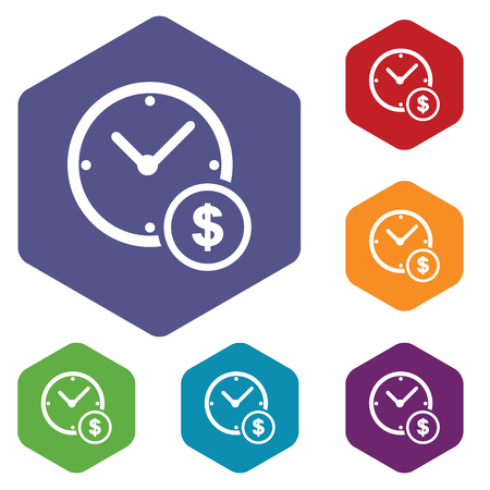 fondos violeta: Conjunto de iconos de colores hexagonales con reloj y el símbolo de dólar, aislado en blanco