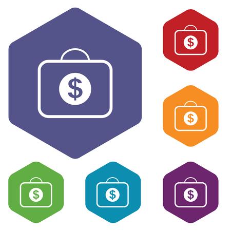 fondos violeta: Coloreado conjunto de iconos hexagonales con la bolsa con el símbolo de dólar, aislado en blanco