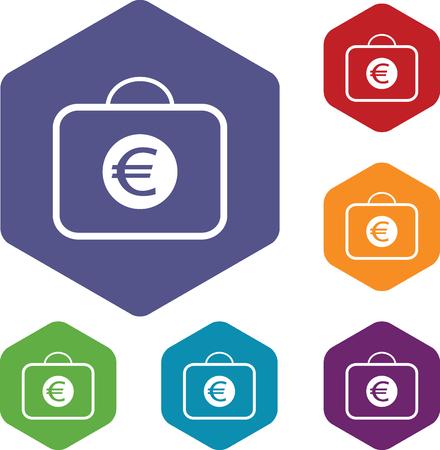 fondos violeta: Coloreado conjunto de iconos hexagonales con la bolsa con el símbolo del euro, aislado en blanco Vectores