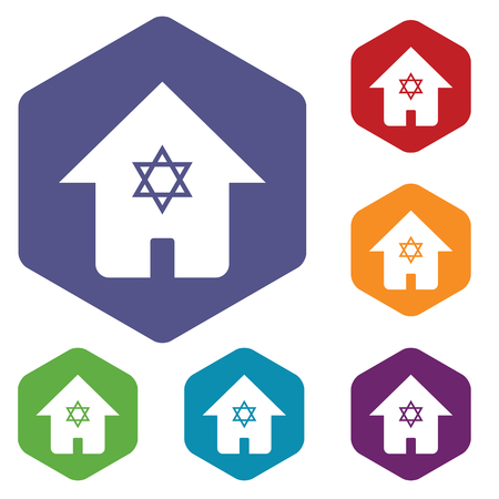 judaica: Colored set of hexagon icons with house with Star of David, isolated on white