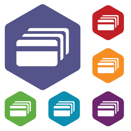 fondos violeta: Coloreado conjunto de iconos hexagonales con la imagen de la tarjeta de crédito, aislado en blanco