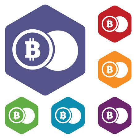 fondos violeta: Coloreado conjunto de iconos hexagonales con la imagen de la moneda bitcoin, aislado en blanco Vectores
