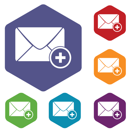 sort: Colored set of hexagon icons with image of envelope and plus, isolated on white