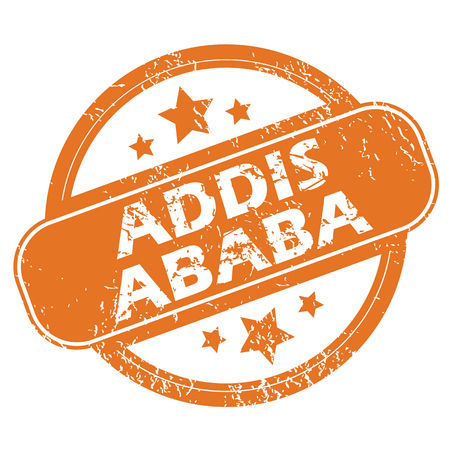 ababa: Round rubber stamp with city name Addis Ababa and stars, isolated on white
