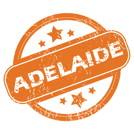 adelaide: Round rubber stamp with city name Adelaide and stars, isolated on white