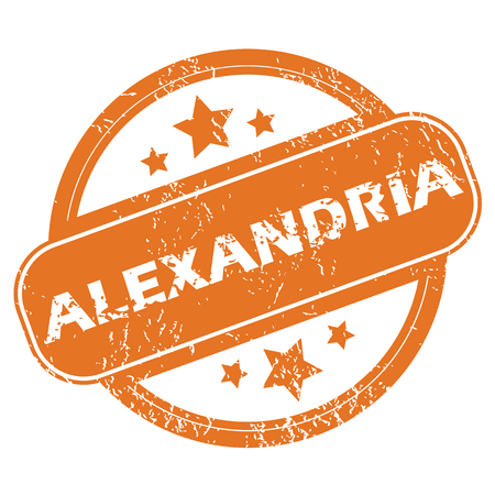 archive site: Round rubber stamp with city name Alexandria and stars, isolated on white