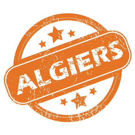 algiers: Round rubber stamp with city name Algiers and stars, isolated on white