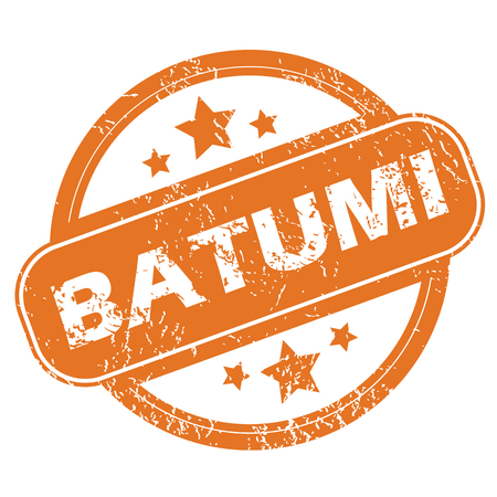 archive site: Round rubber stamp with city name Batumi and stars, isolated on white