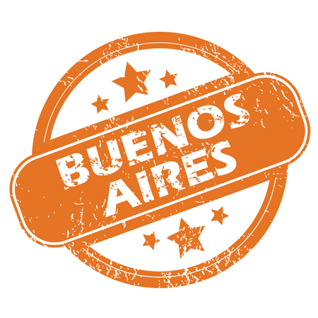 buenos: Round rubber stamp with city name Buenos Aires and stars, isolated on white Illustration