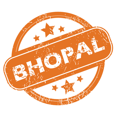 archive site: Round rubber stamp with city name Bhopal and stars, isolated on white