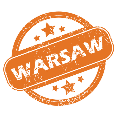 warsaw: Round rubber stamp with city name Warsaw and stars, isolated on white