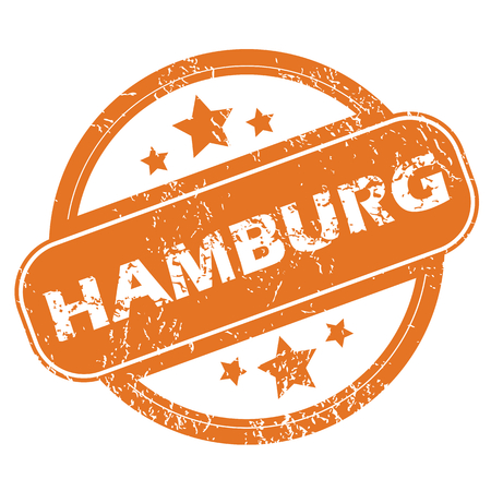 Round rubber stamp with city name Hamburg and stars, isolated on white Vector