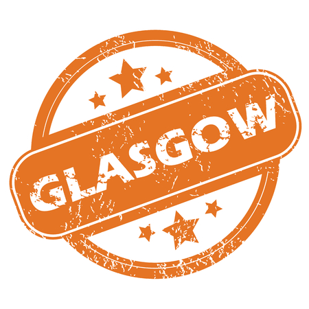 glasgow: Round rubber stamp with city name Glasgow and stars, isolated on white Illustration