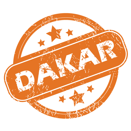 dakar: Round rubber stamp with city name Dakar and stars, isolated on white
