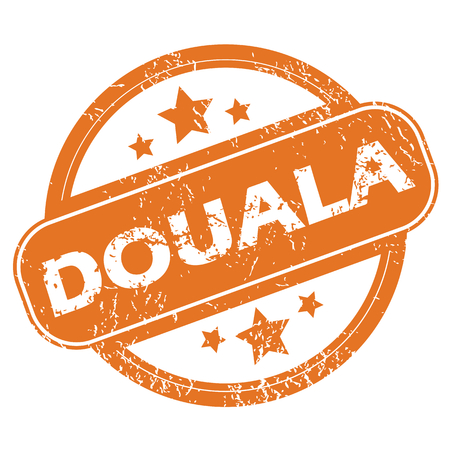 archive site: Round rubber stamp with city name Douala and stars, isolated on white