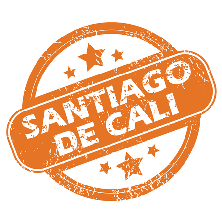 santiago: Round rubber stamp with city name Santiago De Cali and stars, isolated on white