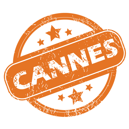 archive site: Round rubber stamp with city name Cannes and stars, isolated on white