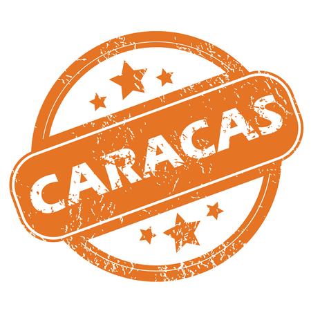 caracas: Round rubber stamp with city name Caracas and stars, isolated on white