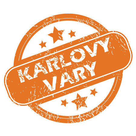 karlovy: Round rubber stamp with city name Karlovy Vary and stars, isolated on white