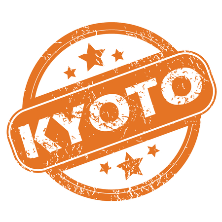 kyoto: Round rubber stamp with city name Kyoto and stars, isolated on white Vettoriali