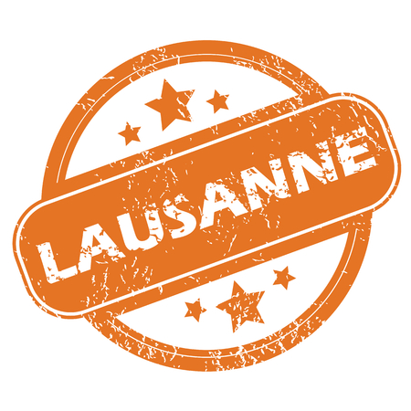 Round rubber stamp with city name Lausanne and stars, isolated on white