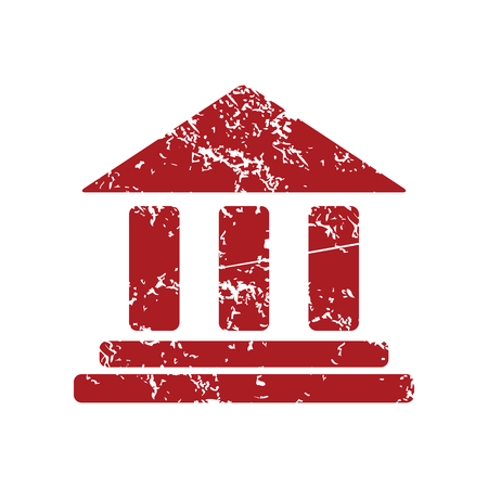 gable: Classical building red grunge icon