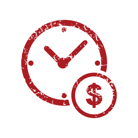 time is money: Time money red grunge icon