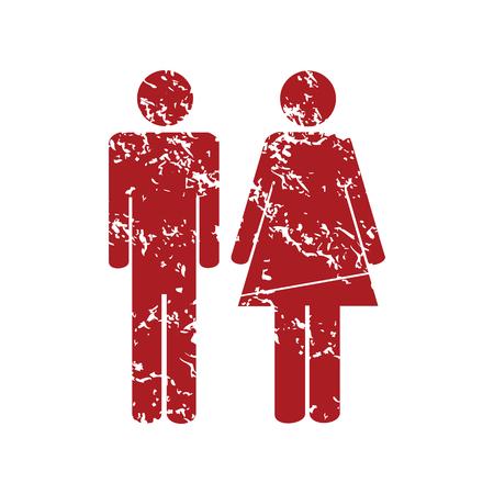 red grunge: Man woman red grunge icon Illustration