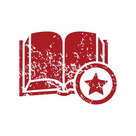 red grunge: Favorite book red grunge icon Illustration