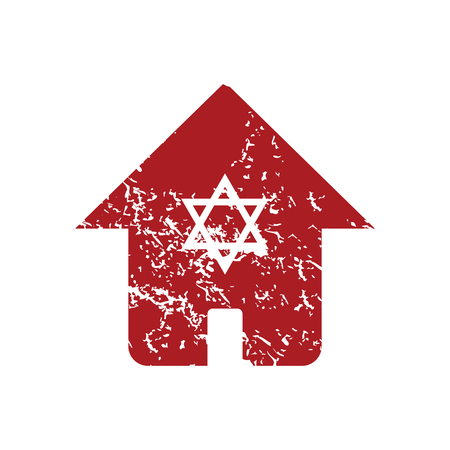 jews: Jewish house red grunge icon Illustration
