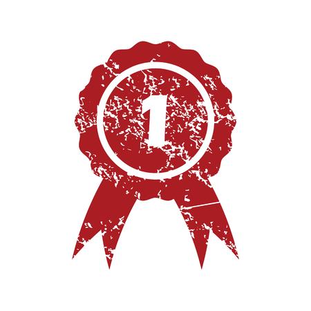 lugar: En primer lugar grunge icono rojo