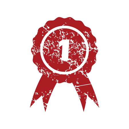 First place red grunge icon Vetores