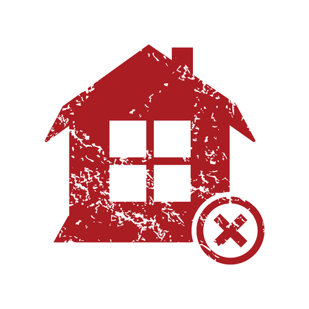 remove: Remove house red grunge icon