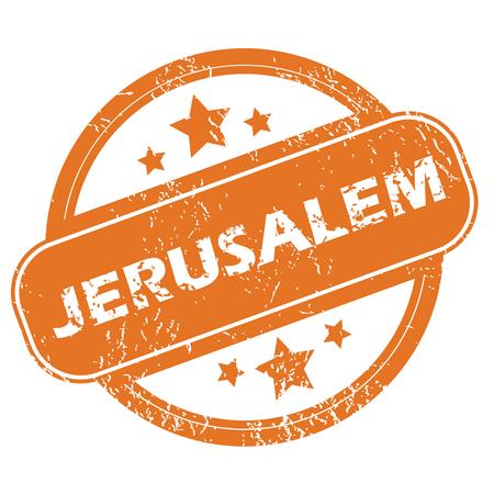 jeruzalem: Jeruzalem rond stempel Stock Illustratie