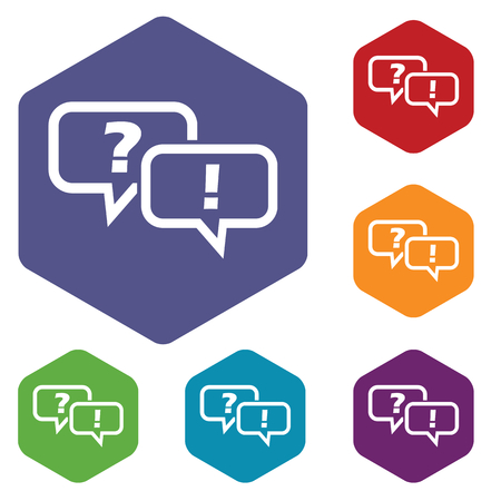 question and answer: Question answer hexagon icon set Illustration