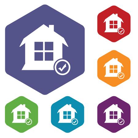 select: Select house hexagon icon set