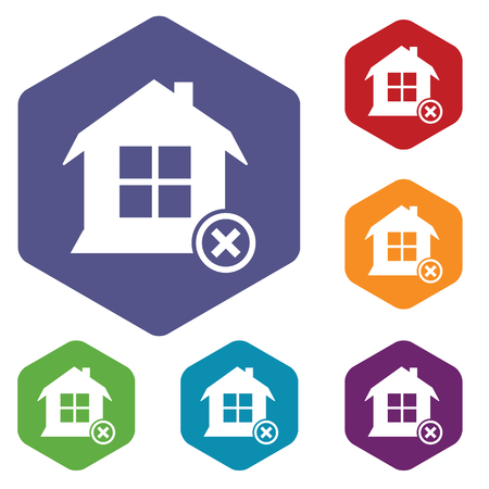 remove: Remove house hexagon icon set