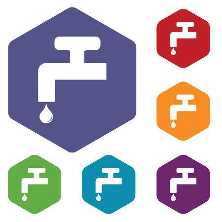 watertap: Tap hexagon icon set Illustration
