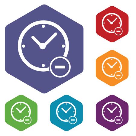 reduce: Reduce time hexagon icon set